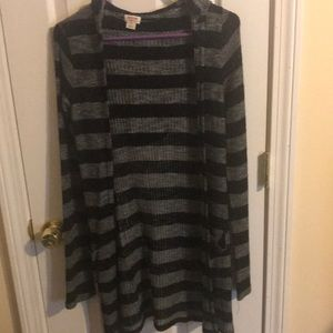 Black and gray stripped hooded cardigan